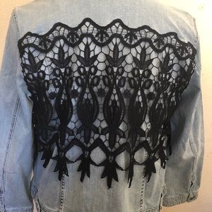 Chicos Jean jacket with black lace